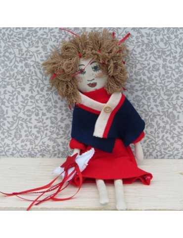 Red Dress Fabric Doll