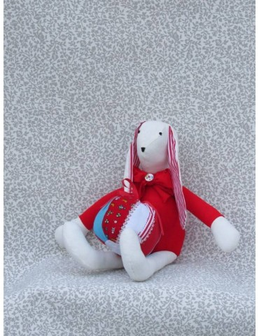 Handmade Fabric Bunny Doll with Ball