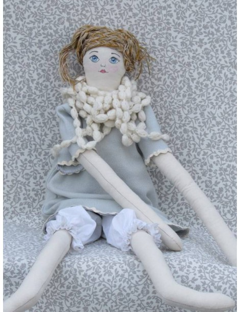 Rag Girl Doll with Knitted Necklace