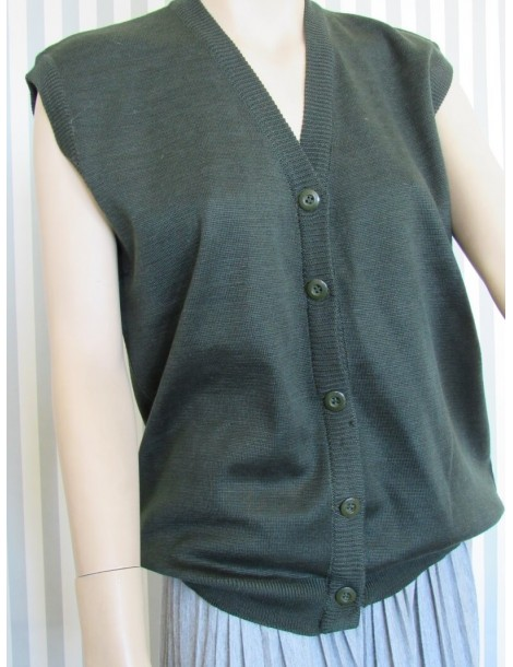 Women's Sleeveless Sweater with Buttons - Green