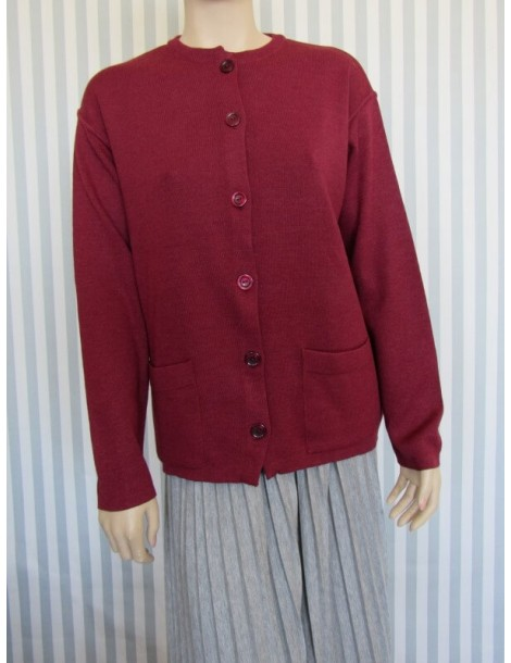 Knitted Button Down Cardigan - Grena