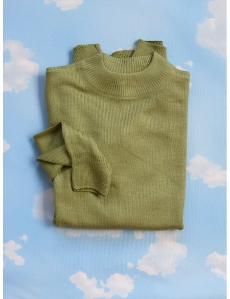Vintage 80's Women's High Collar Sweater - Yellow Green